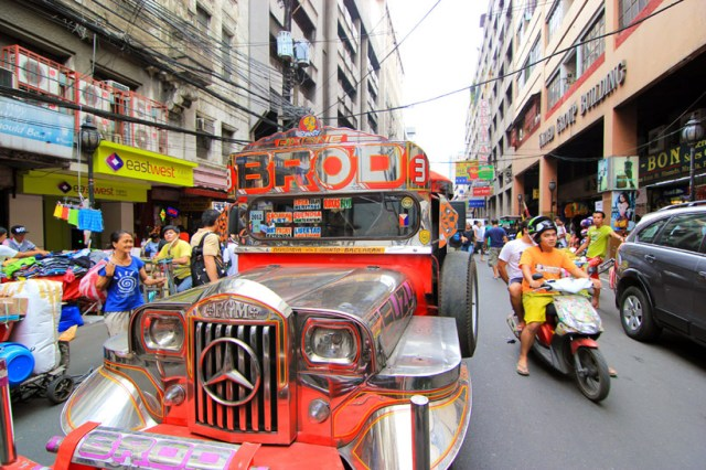 Jeepney driving through Manila