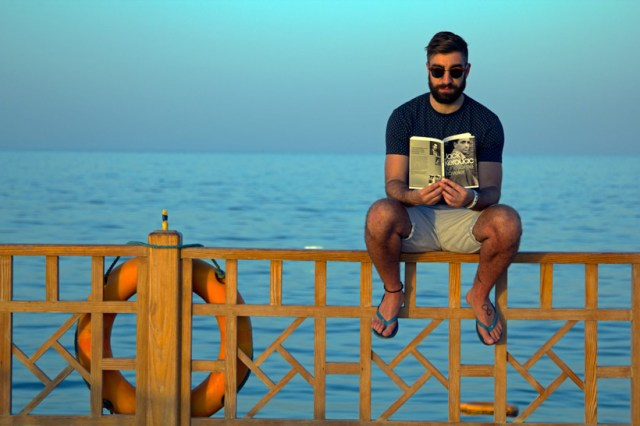 Reading on the pier