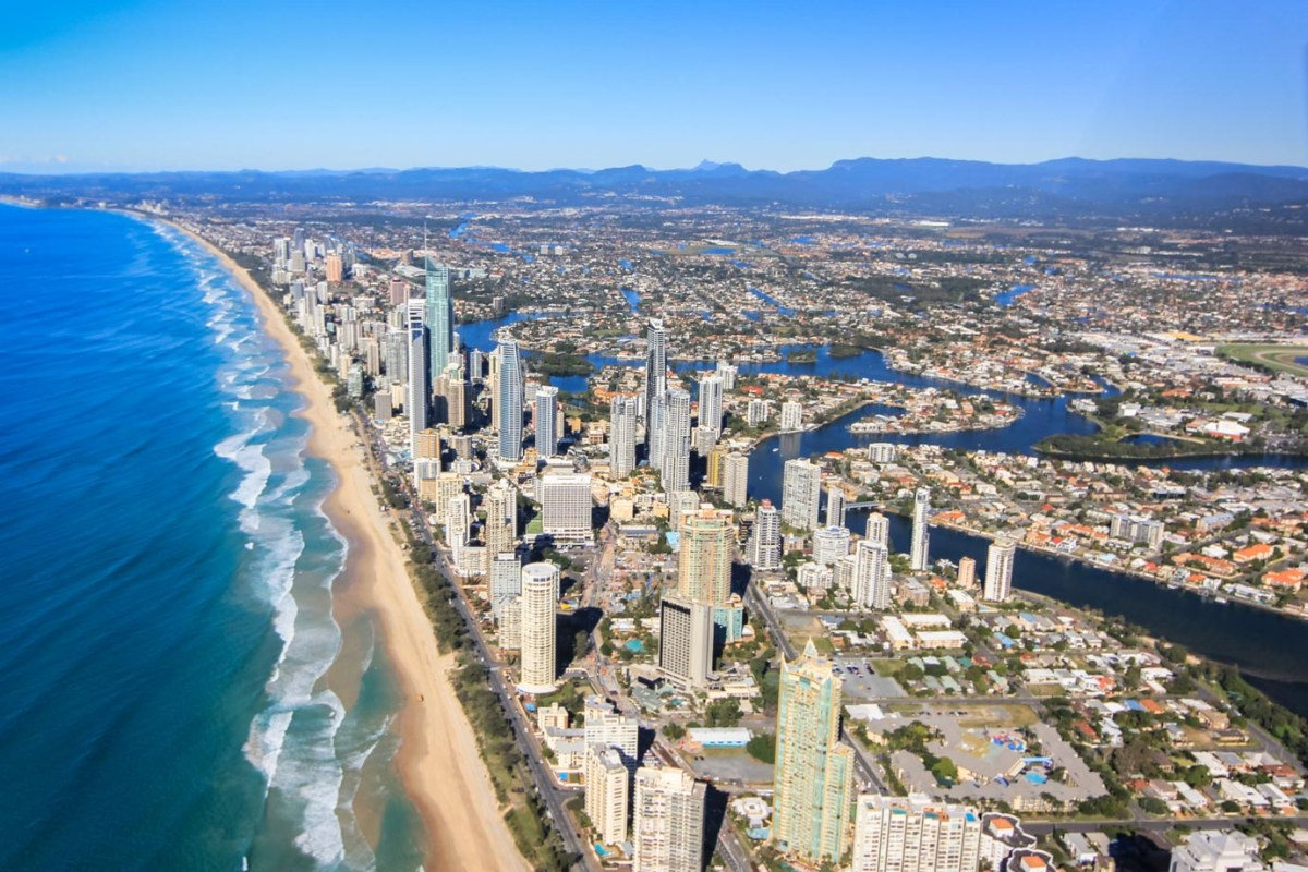 The view of the coastline above the Gold Coast, Australia