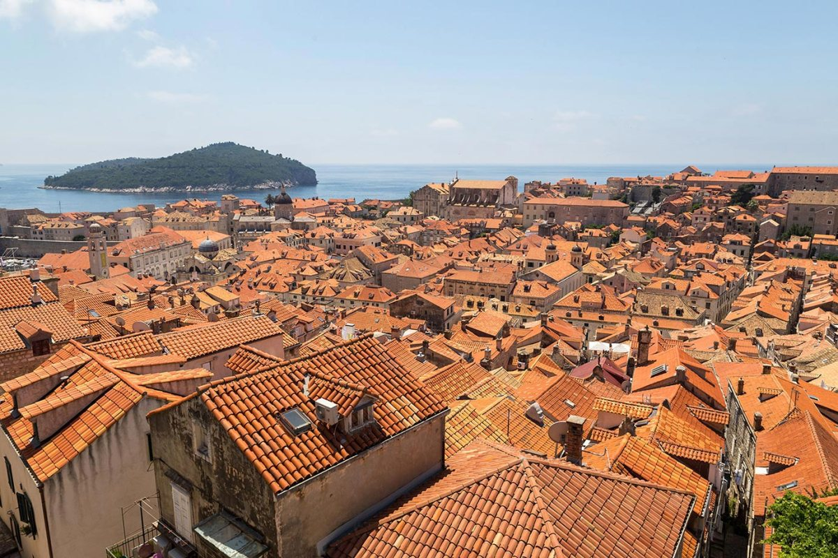 The famous red roofs of Dubrovnik in Croatia