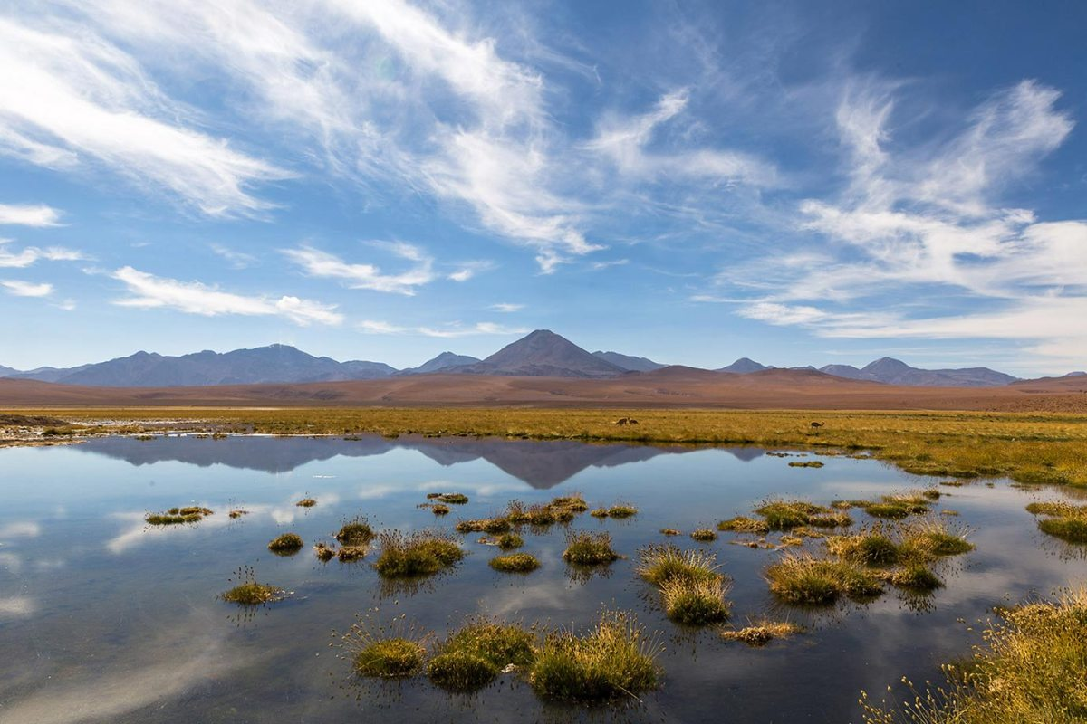 Mountains and reflections in the Atacama Desert, Chile