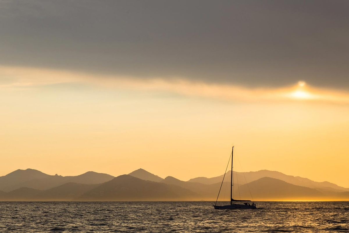 Sailing at sunset in southern France