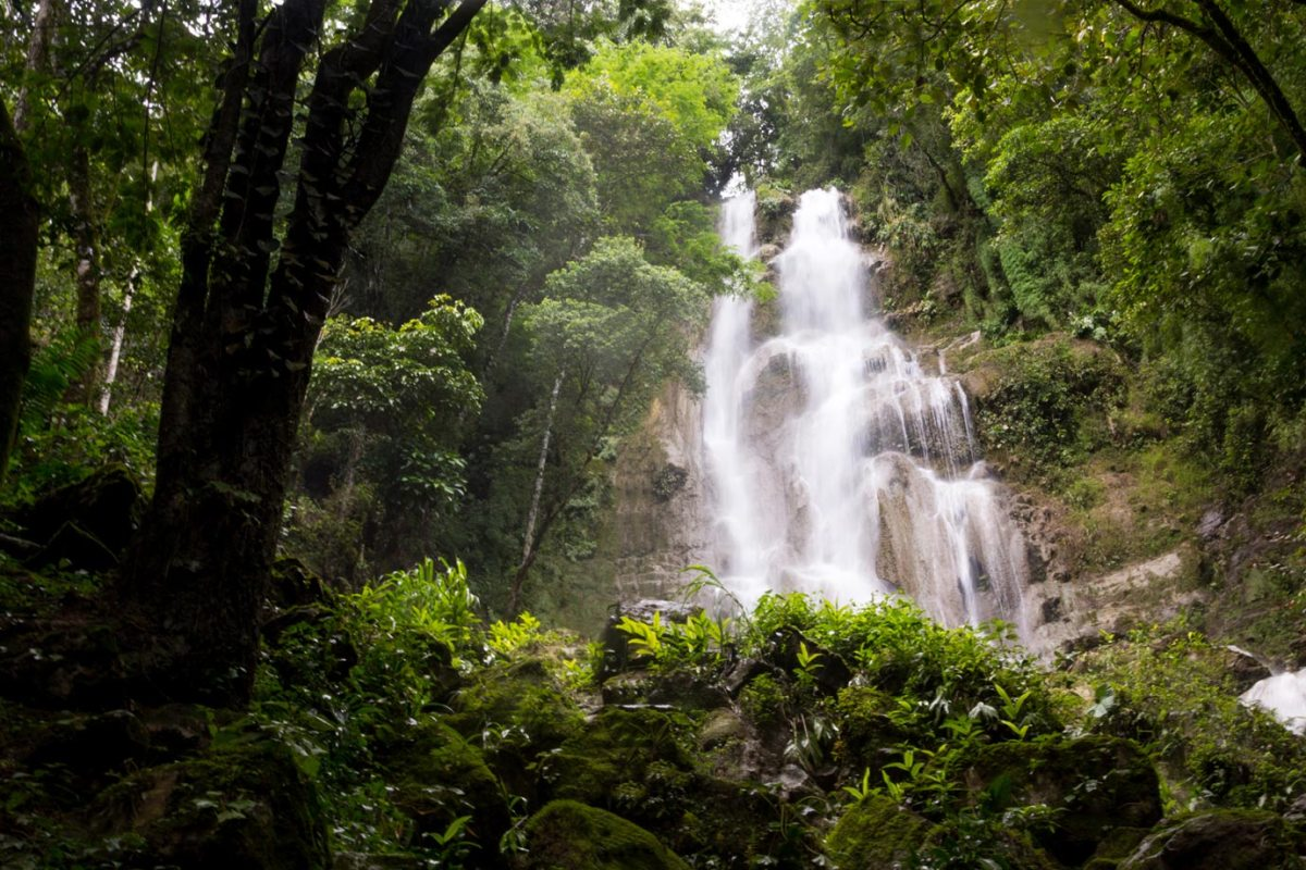 A beautiful waterfall in the middle of the Honduran rainforest