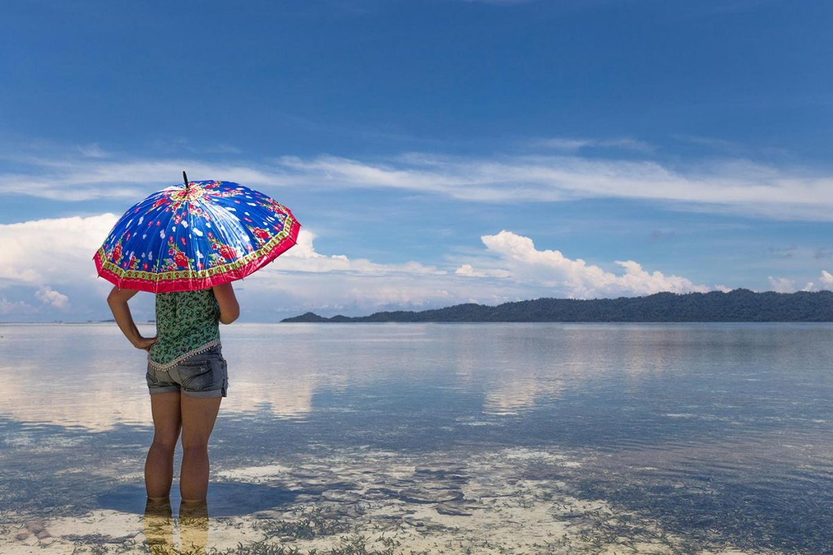 Sheltering from the sun in Raja Ampat, Indonesia