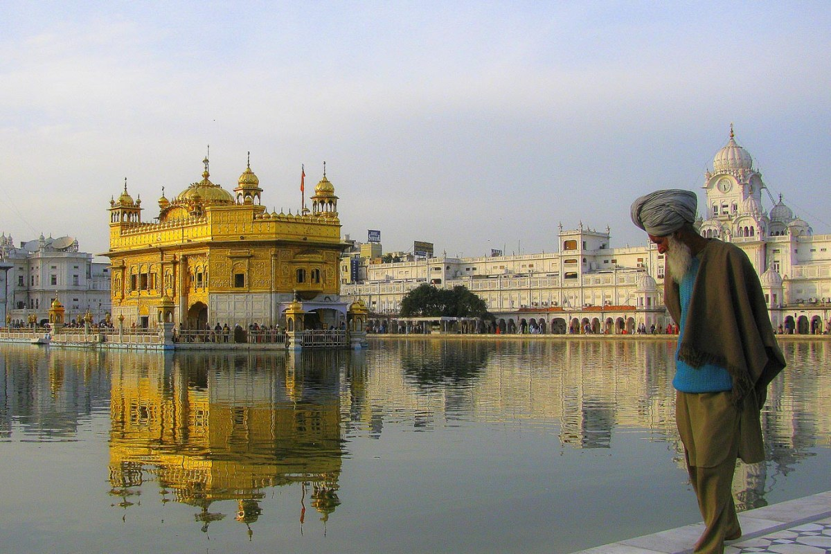 A Sikh walking around the Golden Temple in India