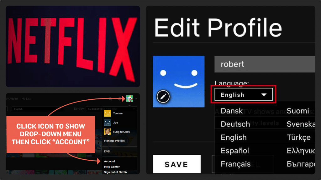 Changing the Netflix Language is easy and you have a variety of languages to choose from