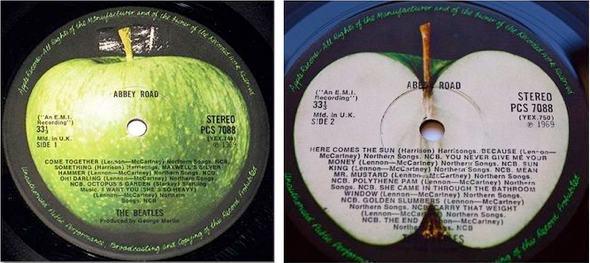 Apple Corps Ltd. logos on The Beatles' Abbey Road