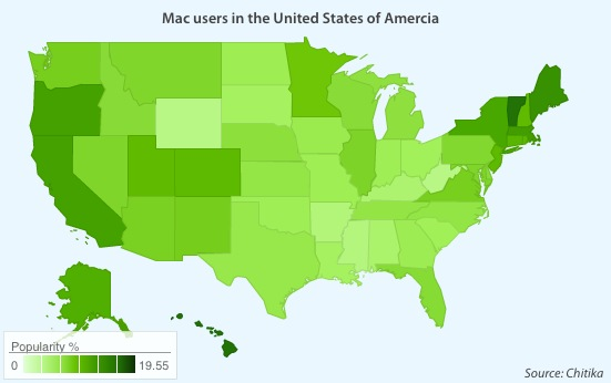 Top U.S. Mac-using states