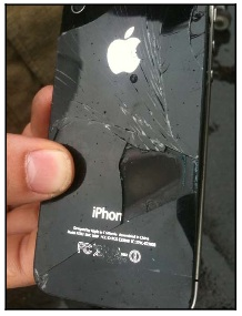 Cracked iPhone 4; purported to have emitted smoke