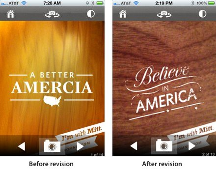 """Romney """"Amercia"""" app before and after"""