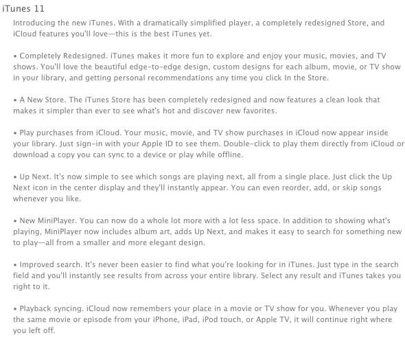 Apple iTunes 11 Release Notes