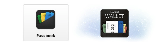 Left, Apple's Passbook icon. Right, Samsung Wallet. Via The Verge.
