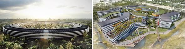 "Apple's ""Mothership"" Campus (left), Google's campus (right)"