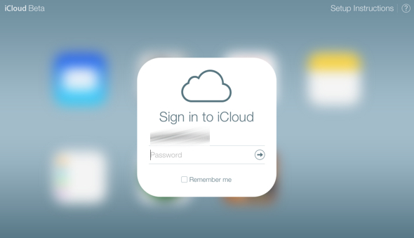 iCloud.com beta sign in screen