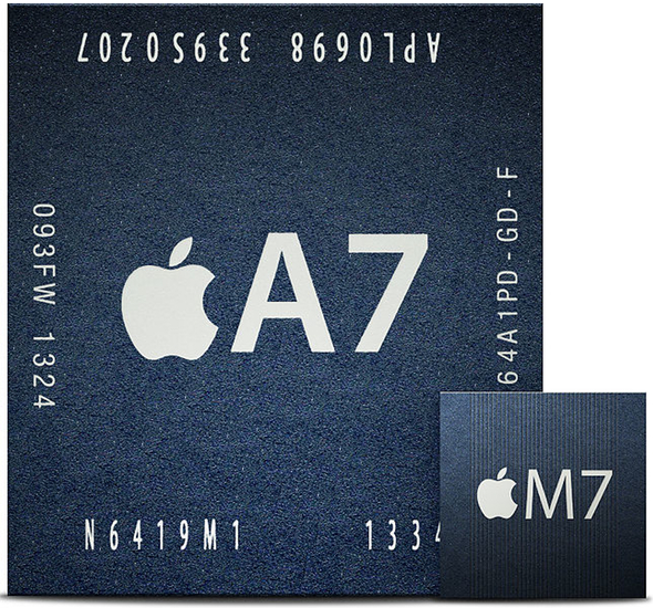 Size comparison between Apple's A7 processor and its M7 motion co-processor.