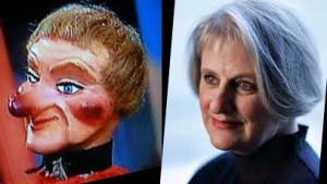 Lady Elaine Fairchilde (left), Puppet Denise Cote (right), or vice versa