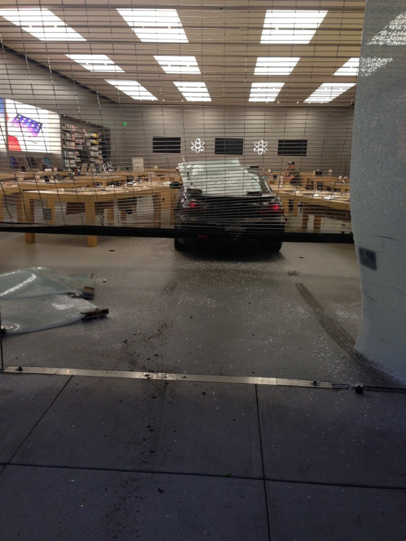 A car smashed through the glass façade of the Apple store at 1823 4th Street in Berkeley. Photo: Mickey Novello