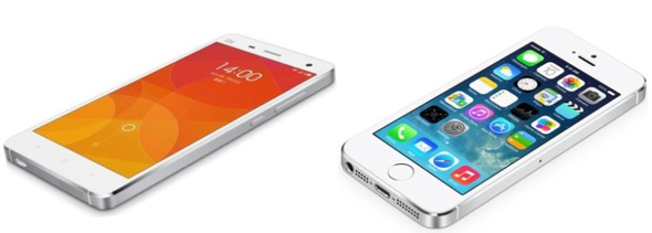 Xiaomi Mi 4 (left), Apple iPhone 5s (right)