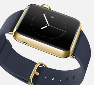 42mm Apple Watch Edition in 18-karat yellow gold case with Midnight Blue Classic Buckle