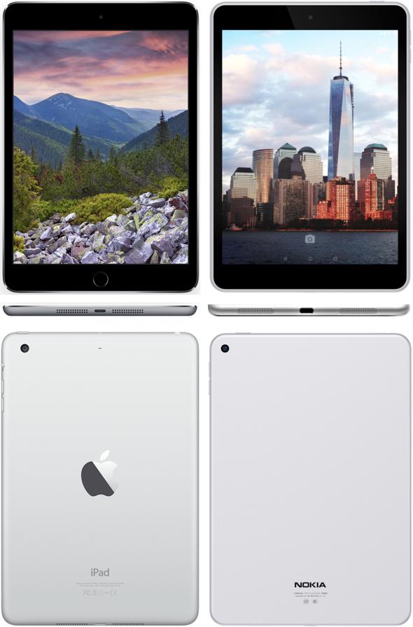 Trade Dress Infringement: Apple 7.9-inch iPad mini 3 (left) vs. Nokia 7.9-inch N1 tablet (right)
