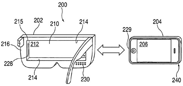 "U.S. patent number 8,957,835: Apple's ""head-mounted display apparatus for retaining a portable electronic device with display"""