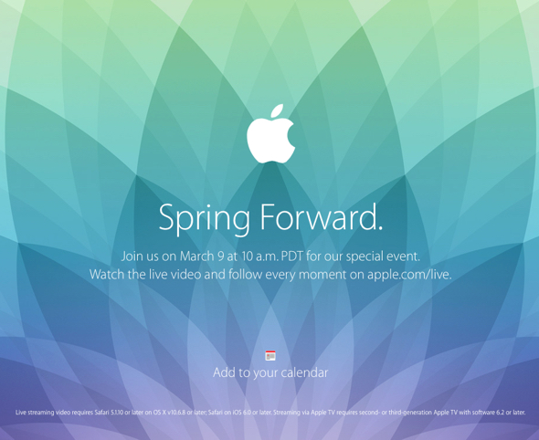 Apple's special media event invitation Spring Forward