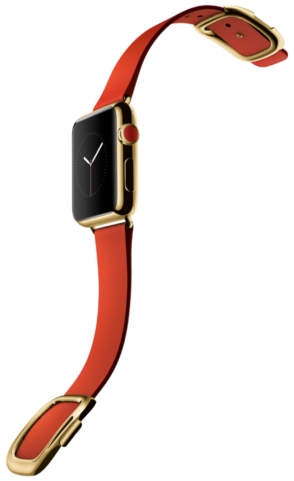 Apple Watch Edition in 38mm 18-karat yellow gold case with bright red modern buckle strap
