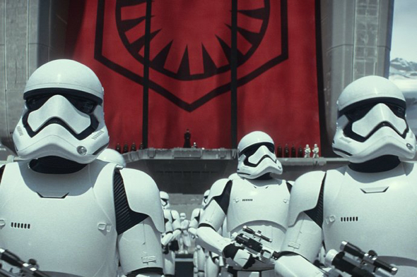 Stormtroopers featured in Star Wars: The Force Awakens. Courtesy of Walt Disney Pictures