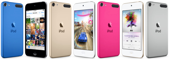 Apple's iPod touch offers a 64-bit Apple A8 chip, M8 motion coprocessor, 8MP camera, and Apple Music capability