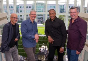 Apple's Jimmy Iovine, Tim Cook, Dr. Dre., and Eddy Cue (left to right)