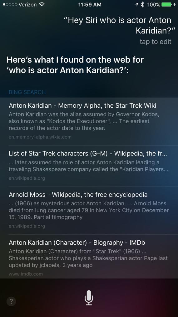 Hey Siri, who is actor Anton Karidian?