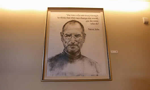 Plaque honoring Apple co-founder Steve Jobs in the Sun Power suite at Levi's Stadium