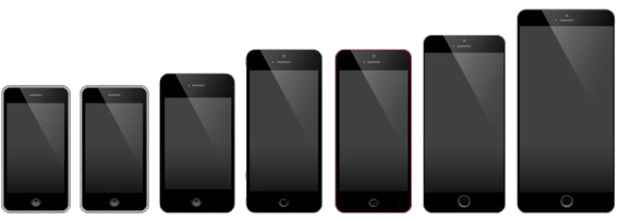iPhone fronts, 2007-2016