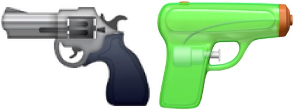 Current iOS handgun emoji (left) and Apple's replacement, a green squirt gun (right)