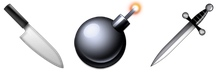 iOS knife, bomb, and sword emoji