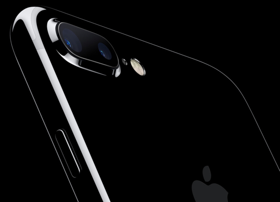 The top rear of Apple's iPhone 7 Plus in Jet Black shows the dual-cameras and Quad-LED True Tone flash