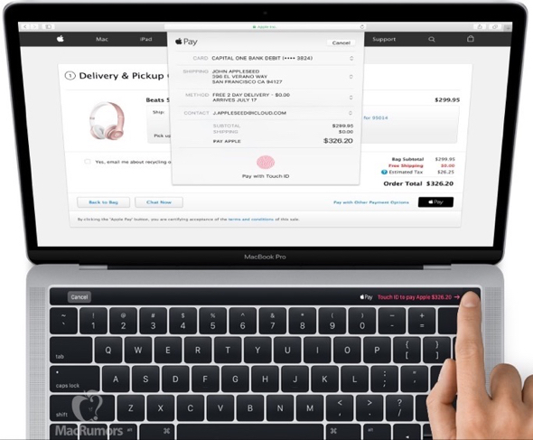 The OLED touch panel on Apple's forthcoming MacBook Pro