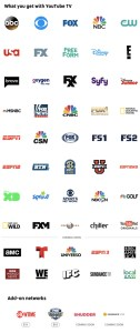 YouTube TV Channel Listing