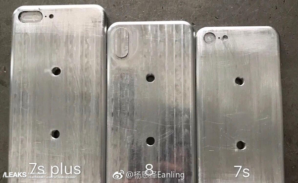 iphone 7s, iphone 7s plus and iphone 8 molds pictured next to each other