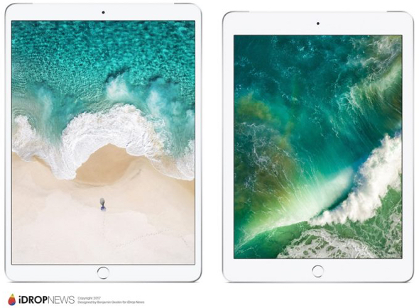 Apple's 2nd-gen. 10.5-inch iPad Pro (left) compared to the  9.7-inch iPad