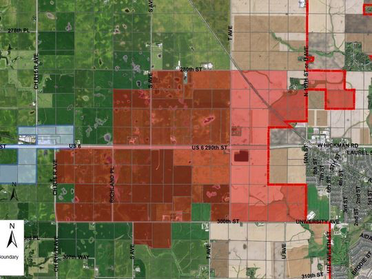 The city of Waukee annexed 3,500 acres of land outside its western city limits in June. A portion of the property will house a new Apple Inc. data center. (Photo: City of Waukee/Special to the Register)