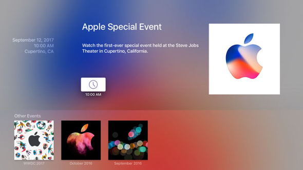The Apple Events app offers live and on-demand video of the company's most important announcements