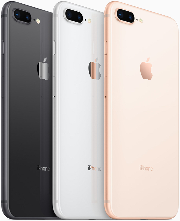 New space gray, silver and gold finishes on iPhone 8 and iPhone 8 Plus are made using a seven-layer color process for precise hue and opacity.