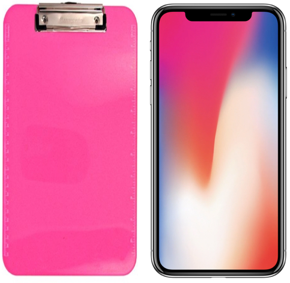 Plastic clipboard (left), iPhone X (right)