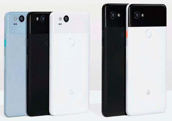 Alphabet Inc.'s HTC-built  Google Pixel 2 (left) and LG-built Google Pixel 2 XL