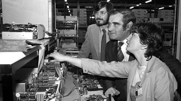 Co-founder Steve Jobs visits Apple's new facility in Cork, October 1980
