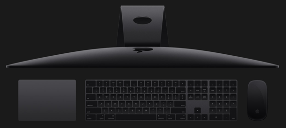 Apple's new space gray accessories are wireless, rechargeable, and beautiful to behold. The new Magic Keyboard includes a numeric keypad, and to go with it you can choose the Magic Mouse 2 and/or the Magic Trackpad 2. iMac Pro sold separately.