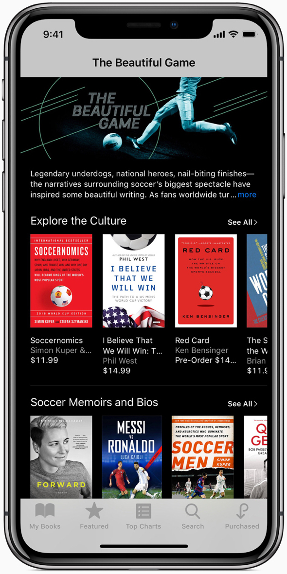 """The Beautiful Game"" in Apple Podcasts and iBooks celebrates the history and legends of the game."