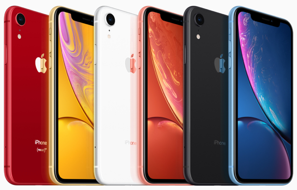 iPhone XR comes in six new designs: white, black, blue, yellow, coral and (PRODUCT) RED.
