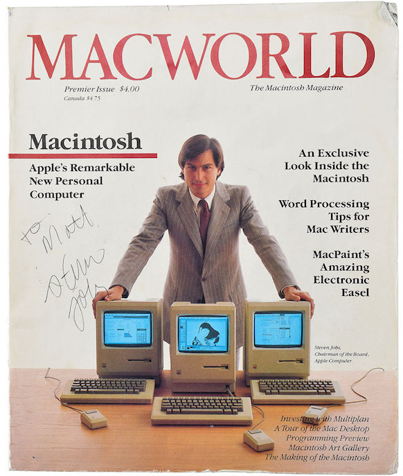 Premiere issue of Macworld magazine autographed by Steve Jobs